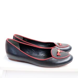 Tory Burch navy blue leather flats with red trim 6